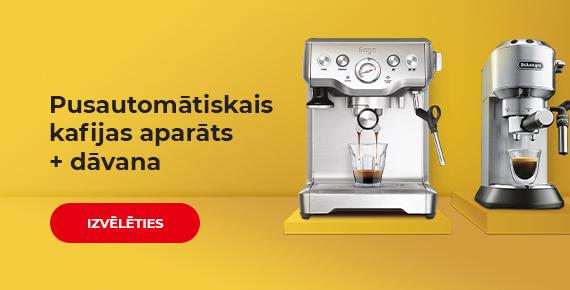 Pērkot pusautomātisko kafijas aparātu saņemiet dāvanā kafiju