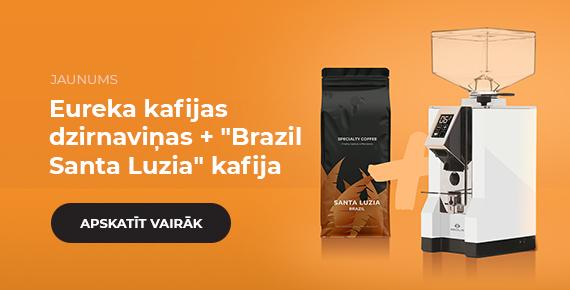 """Eureka kafijas dzirnaviņas + """"Brazil Santa Luzia"""" kafijas pupiņas"""